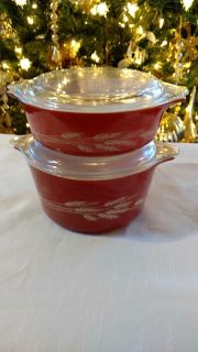 Two Red Wheat Pattern Pyrex Corning Covered Dishes