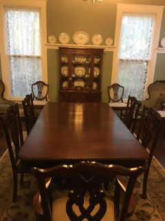 Cherry dining room table w/8 chairs
