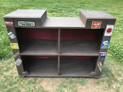 Vintage Hand Painted Advertising Shelf / Counter