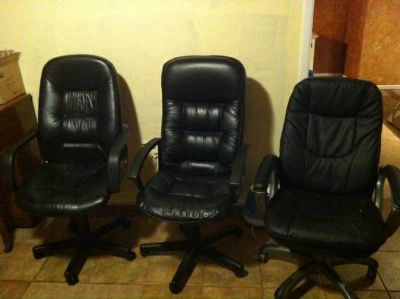 Black Leather Office Chairs (3)