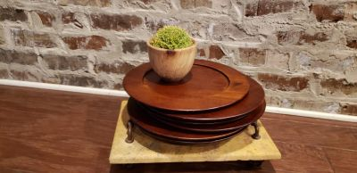 """Set of 6 Wood Chargers from Pier One. GUC. Has Natural Distressing and Wear. See Pictures. 13 1/8"""" Round. Center is 9.5"""" R."""