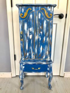 Wood distressed jewelry box hutch stand armoire