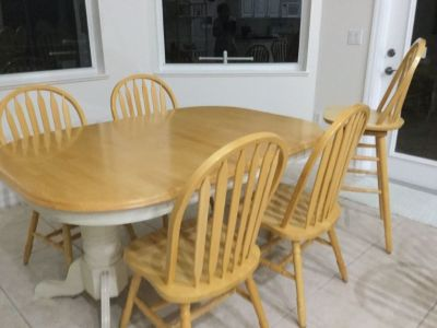 table,  chairs and 3 matching barstools