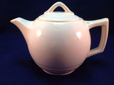 McCoy Pottery Round Teapot Solid Color White Glaze Vintage