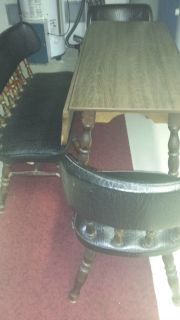 kitchen table (drop leaf) with bench and 2 chairs