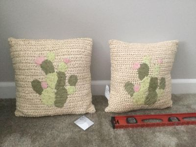 Brand NEW with tags set of 2 throw pillows, cute cactus theme, Nordstrom Rack, scroll for photos, retail says $29.97 EACH, $7.00 takes both