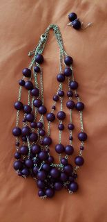 Burgundy necklace and earrings set