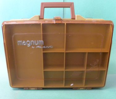 PLANO MAGNUM TACKLE BOX. NICE TWO SIDED BOX WITH 19 COMPARTMENTS