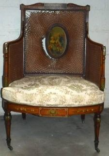 Antique French Cane Chair on Caster Wheels ~Needs Repair