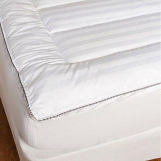 400-Thread Count Dobby Stripe Gusseted Channel Quilt Pillow Top King Size Mattress Pad