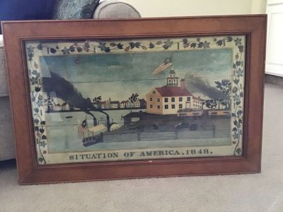 Wood glass framed Situation of America print picture.