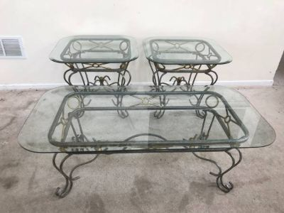 3pc Antique Silver & Gold Finish Scroll Design Coffee Table Set