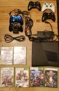 Xbox 360 system, 250g hard drive, wireless controllers, games