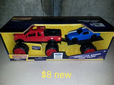 Truck towing car with trailer toy