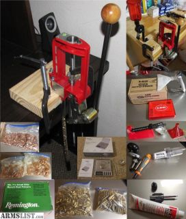 For Sale: Lee Challenger Press kit w/ dies (.223) + tools + components (brass, primers, bullets)