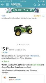 John Deere Buck Ride On toy