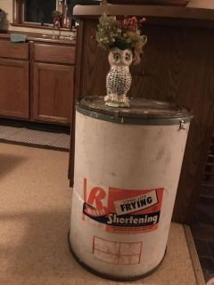 Tall, vintage, shortening container. Very clean inside.