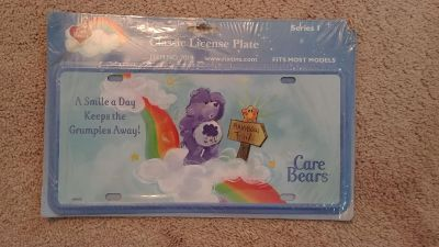 NEW Old Stock Care Bears Grumpy Bear Collectible Vanity License Plate