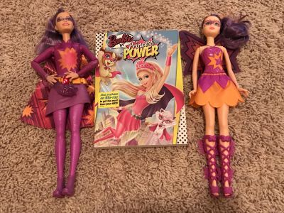 Barbie DVD and 2 Dolls (Characters from the movie), Excellent Condition