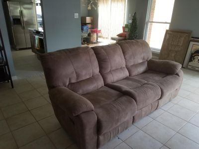 RECLINING SOFA W/ USB & ELECTRIC PORTS AND CUP HOLDERS
