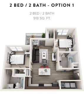 Apartment 1 bedroom 1 bathroom