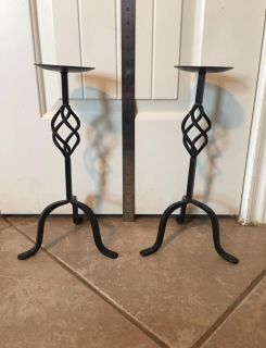 Cast iron blk candle holders