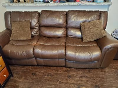 Leather Recline Couch & Pillows