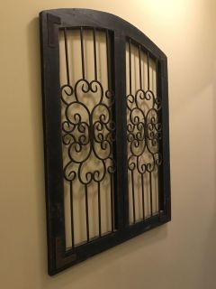 Large iron & wood decor wall decor approx 3 ftx3ft $30 firm