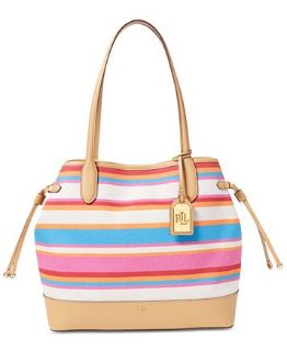 ***NEW***Striped Canvas Lauren Ralph Lauren Tote Handbag***