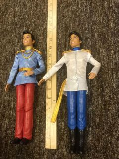 Set of 2 full size Disney Prince Barbie dolls, Cinderella s Prince, Charming is in GUC, Ariel s Prince, Eric, has loose belt $4.00