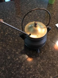 CAST IRON PIT WITH BRASS LID AND STIR ROD