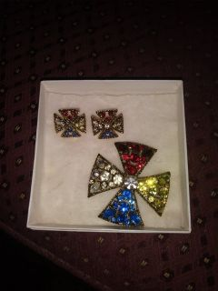 Vintage Clip Earrings and Brooch Pin Set