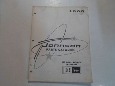 Sell 1963 Johnson Sea Horse Models 3 HP JW JWL 18R Parts Catalog Manual STAINED 63 motorcycle in Sterling Heights, Michigan, United States, for US $12.99