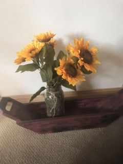 Wooden box, with mason jar of sunflowers