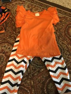 18 Month Ruffled Boutique Shirt and xs pants