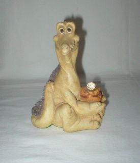 "Vtg Crocodile Figurine Holding Crystal Ball - Plaster Paris Chalkware - 6"" Tall"