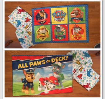 PAW PATROL - CRIB / TODDLER BED - FITTED SHEET, FLAT SHEET, and REVERSIBLE PILLOW CASE. 100% POLYESTER by NICKELODEON