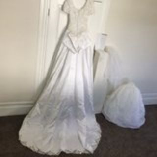 Designer Wedding Gown (size 6), Veil, Gloves, etc.