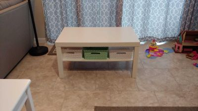 Ikea Lack coffee table with storage baskets