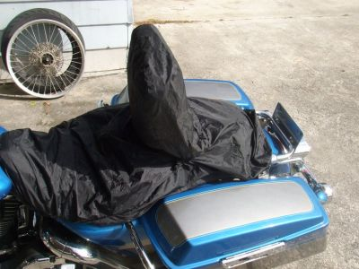 Motorcycle seat w driver backrest rain cover