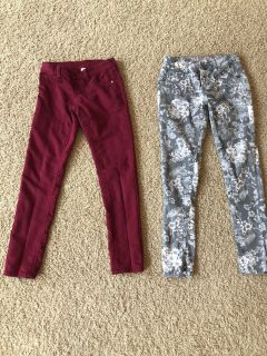 Girls size 10 skinny jeans. Maroon -Justice. Grey and white floral - Red Camel