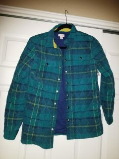 Nwt cat & jack green thick plaid flannel jacket
