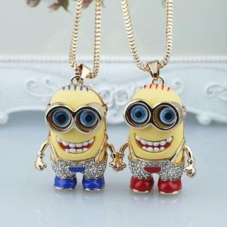 Beautiful Large Despicable Me Minion Pendant With Crystal Rhinestone Pants Plus Chain Necklace (Gift Or For Yourself)
