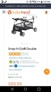 Double snap n go stroller
