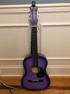 Crescent 38 purple guitar. Missing one string