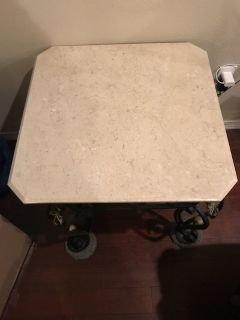 Turkish Wrought Iron and Marble End Table