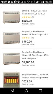 Empire Gas Fired Room Heater, LP,
