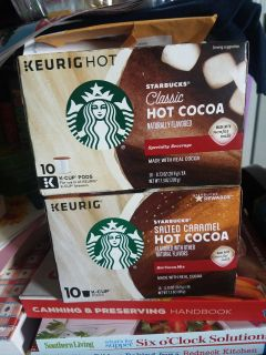 2 new boxes of starbucks hot chocolate kcups