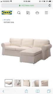 IKEA EKTORP couch/sofa with chaise. Good used condition. No cover included.