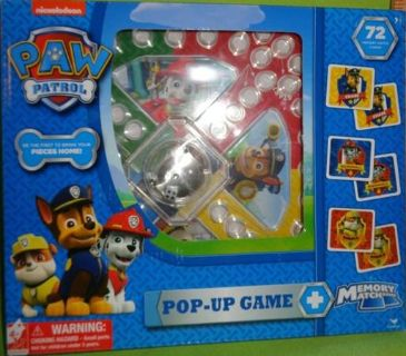 Nickelodeon Paw Patrol Trouble Pop Up Game, Memory Match Game 72 Cards
